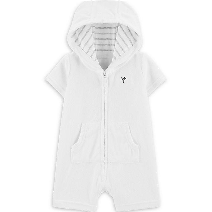 Alternate image 1 for carter's® Zip-Up Hooded Romper in White