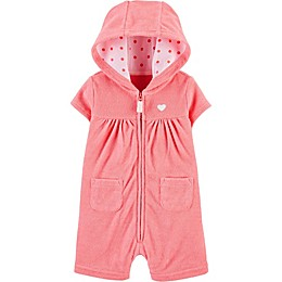 carter's® Heart Hooded Romper in Pink