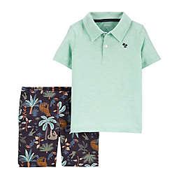 carter's® Size 18M 2-Piece Slub Polo Shirt and Tropical Short Set