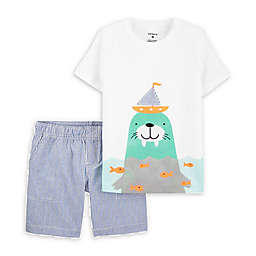 carter's® Size 18M 2-Piece Walrus Shirt and Short Set in Mint
