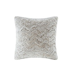 Madison Park Zuri Faux Fur Square Throw Pillow in Snow Leopard