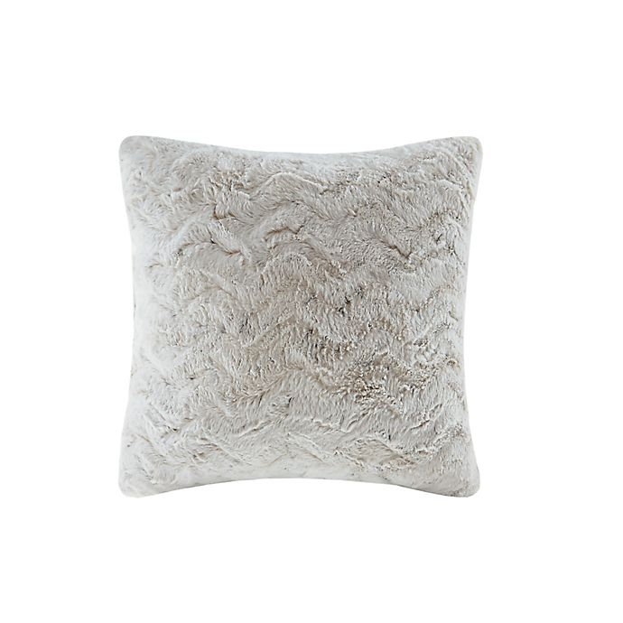 Alternate image 1 for Madison Park Zuri Faux Fur Square Throw Pillow in Snow Leopard