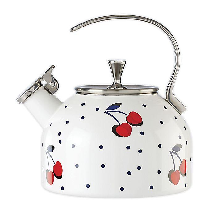Alternate image 1 for kate spade new york Vintage Cherry Dot 2.5 qt. Tea Kettle in White/Red