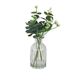 11-Inch Greenery in Acrylic Water with Glass Bottle in Green