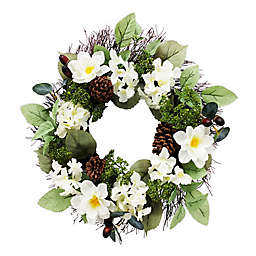 23-Inch Polysilk Faux Flower Magnolia Wreath