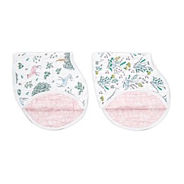 aden + anais® Burpy 2-Pack Forest 2-in-1 Bibs in White/Pink