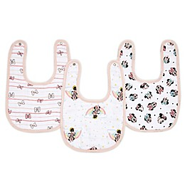 aden + anais® Disney® 3-Pack Minnie Classic Muslin Snap Bibs in Pink