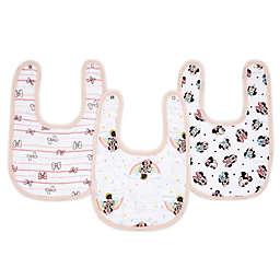 aden + anais® Disney® 3-Pack Minnie Classic Muslin Snap Bibs in Pink