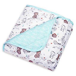 Trend Lab® Reversible Gone Fishing Jersey Crib Quilt in Aqua/White
