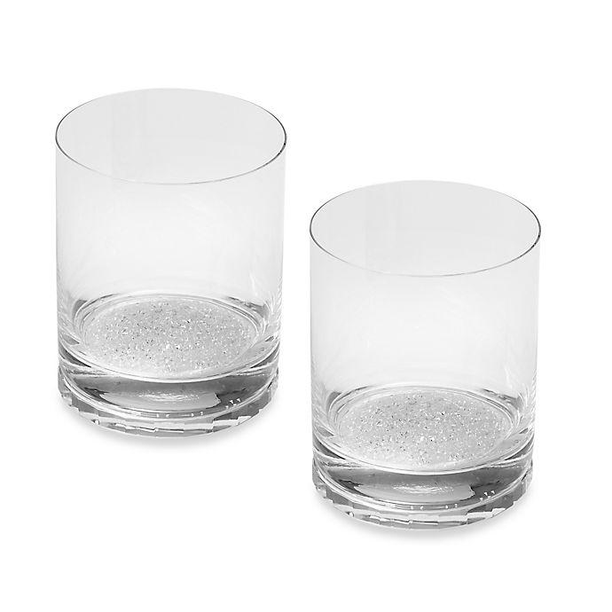 Alternate image 1 for Oleg Cassini Crystal Diamond Double Old Fashioned Glasses (Set of 2)