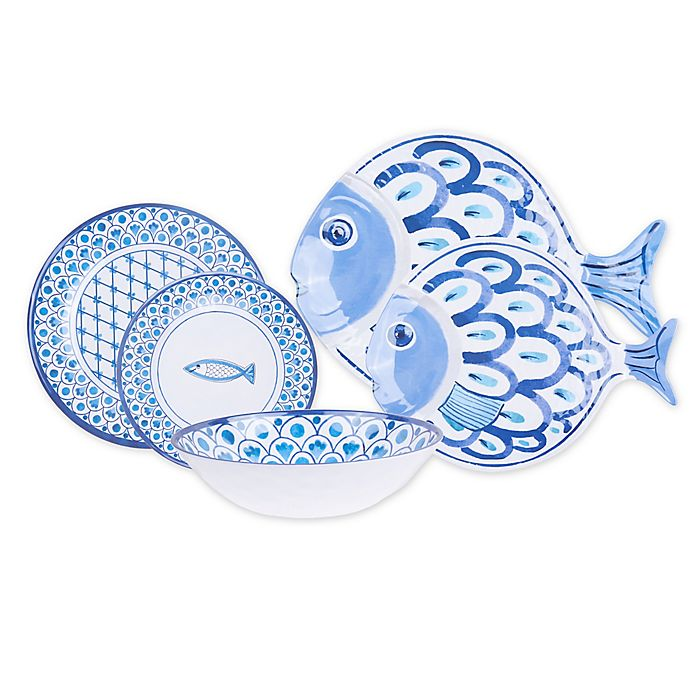 Alternate image 1 for Fish Melamine Dinnerware and Serveware Collection
