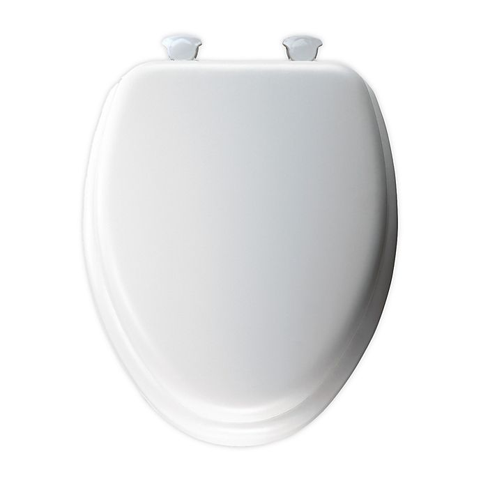 Alternate image 1 for Mayfair® Elongated Cushioned Toilet Seat in White