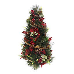 20-Inch Artificial Red Berry Decorative Christmas Tree in Green
