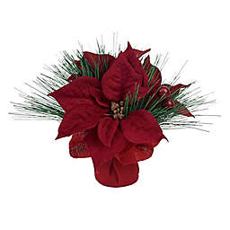8-Inch Artificial Poinsettia Potted Plant in Red