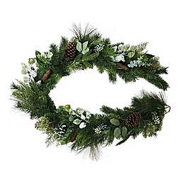 72-Inch Pinecone/Berry Mixed Faux Pine Garland in Green