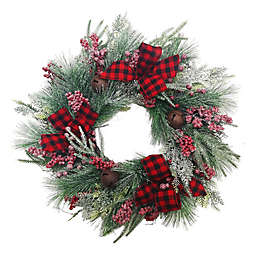 24-Inch Christmas Berry Wreath In Red With Buffalo Check Ribbon