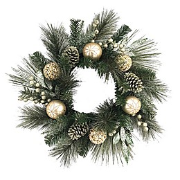 24-Inch Christmas Grapevine Berry Wreath In Green