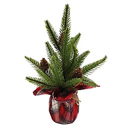 12-Inch Artificial Pine Tree with Pinecone Wrapped Base in Green