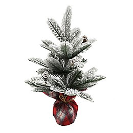 14-Inch Pine Artificial Christmas Tree in White