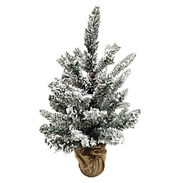 18-Inch Artificial Snow Pine Tree in Burlap Base in White
