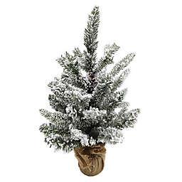 18-Inch Flocked Pine Tree in Burlap Base