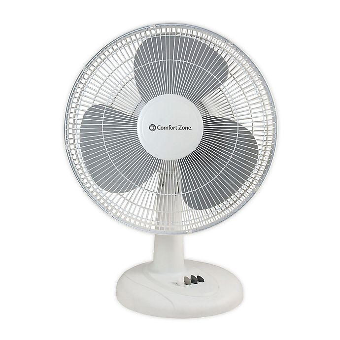 Alternate image 1 for Comfort Zone® 16-Inch 3-Speed Oscillating Table Fan in White