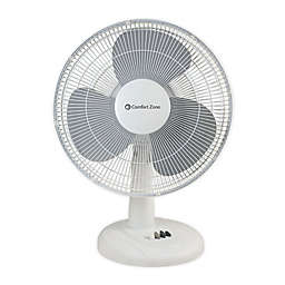Comfort Zone® 16-Inch 3-Speed Oscillating Table Fan in White