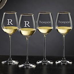 Olivia & Oliver™ Madison Gold Personalized White Wine Glasses (Set of 4)