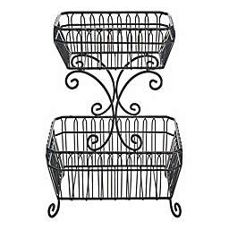 MKS French Countryside 2 Tier Basket, Black
