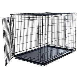 PETMAKER Medium 2-Door Dog Crate in Black