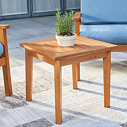 Vifah Gloucester 20-Inch Square Eucalyptus Patio Side Table