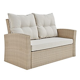Canaan All-Weather Wicker Outdoor Loveseat in Brown