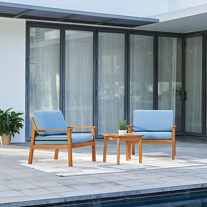 Vifah Gloucester 3 Piece Conversation Set With Blue Cushions Bed Bath Beyond