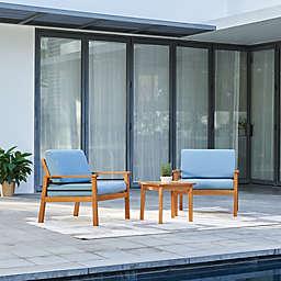 Vifah Gloucester 3-Piece Conversation Set with Blue Cushions