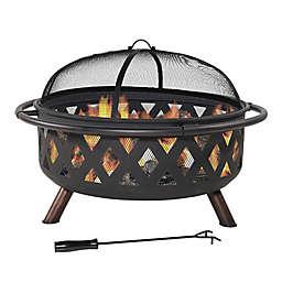 Sunnydaze Decor Large Crossweave Wood-Burning Fire Pit in Black