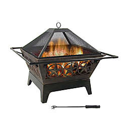 Sunnydaze Northern Galaxy Wood Fire Pit with Cooking Grate in Bronze