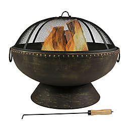 Sunnydaze Firebowl Wood Fire Pit in Bronze with Spark Screen