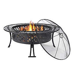 Sunnydaze Decor Diamond Weave Wood-Burning Fire Pit