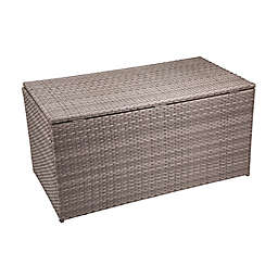 Outdoor Wicker Storage Box in Grey/Cream