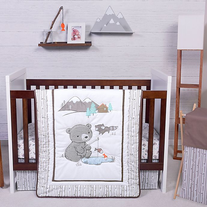 Alternate image 1 for Trend Lab® Gone Fishing Stars 3-Piece Crib Bedding Set in White