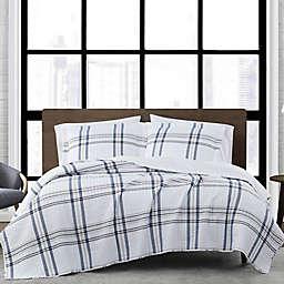 London Fog® Kent Plaid 2-Piece Reversible Twin XL Quilt Set in White