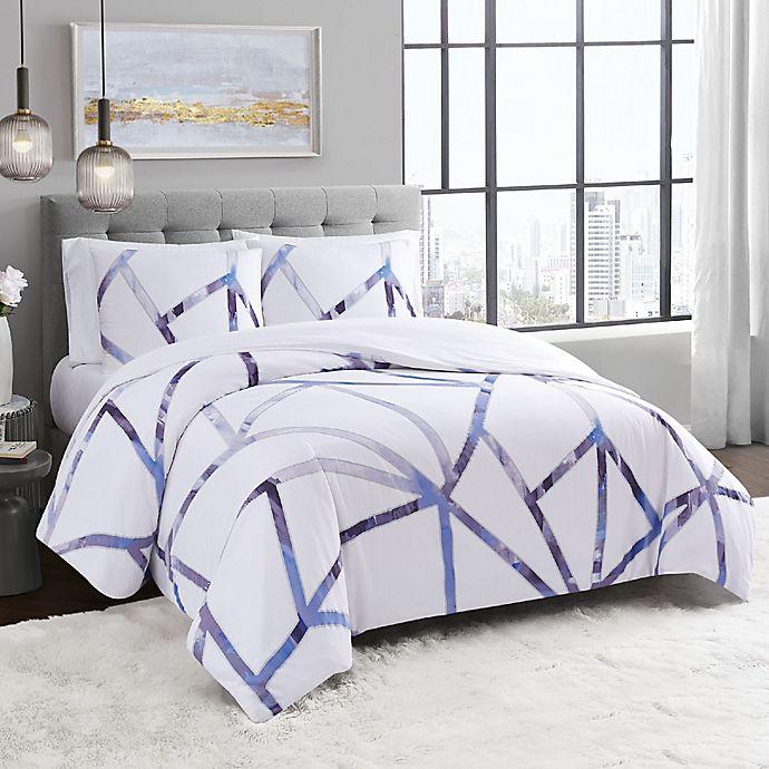 Alternate image 1 for Vince Camuto® Obelis 3-Piece Duvet Cover Set in White/Blue
