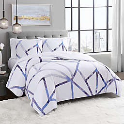 Vince Camuto® Obelis 3-Piece Duvet Cover Set in White/Blue
