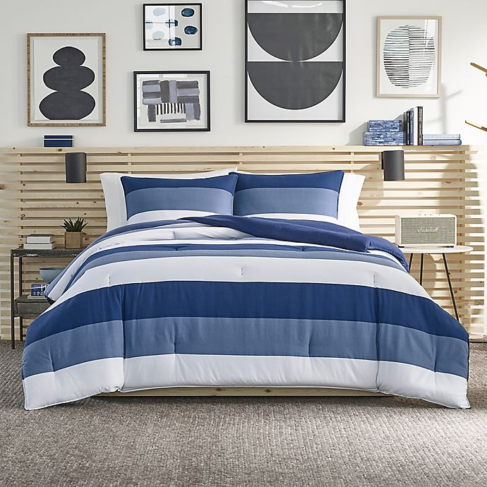 Alternate image 1 for Nautica® Jeans Co Wilton 2-Piece Reversible Twin/Twin XL Comforter Set in Blue