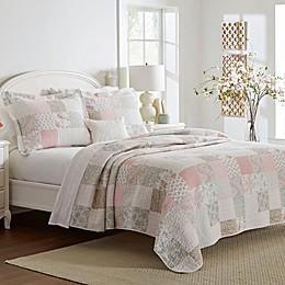 Laura Ashley® Celina Patchwork Quilt Set in Pastel Pink