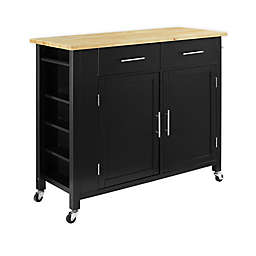 Crosley Savannah Wood Top Kitchen Island/Cart in Black