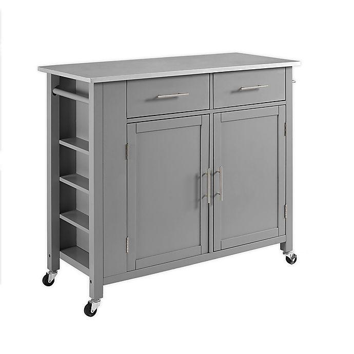 Crosley Savannah Stainless Steel Top Kitchen Island Cart In Grey Bed Bath Beyond