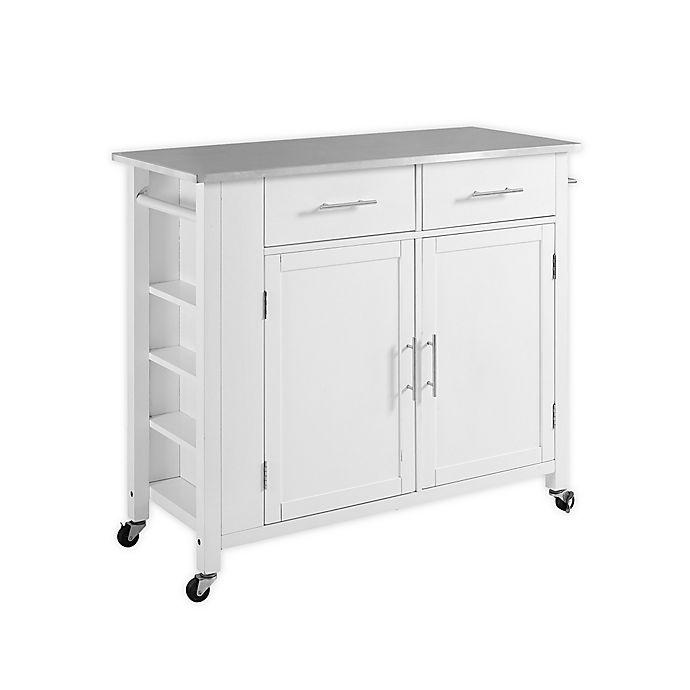 Crosley Savannah Stainless Steel Top Kitchen Island Cart In White Bed Bath Beyond