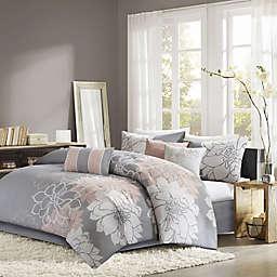 Madison Park Lola 7-Piece Queen Comforter Set in Grey/Blush
