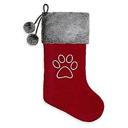 Harvey Lewis™ Paw Print Knit Monogram Christmas Stocking